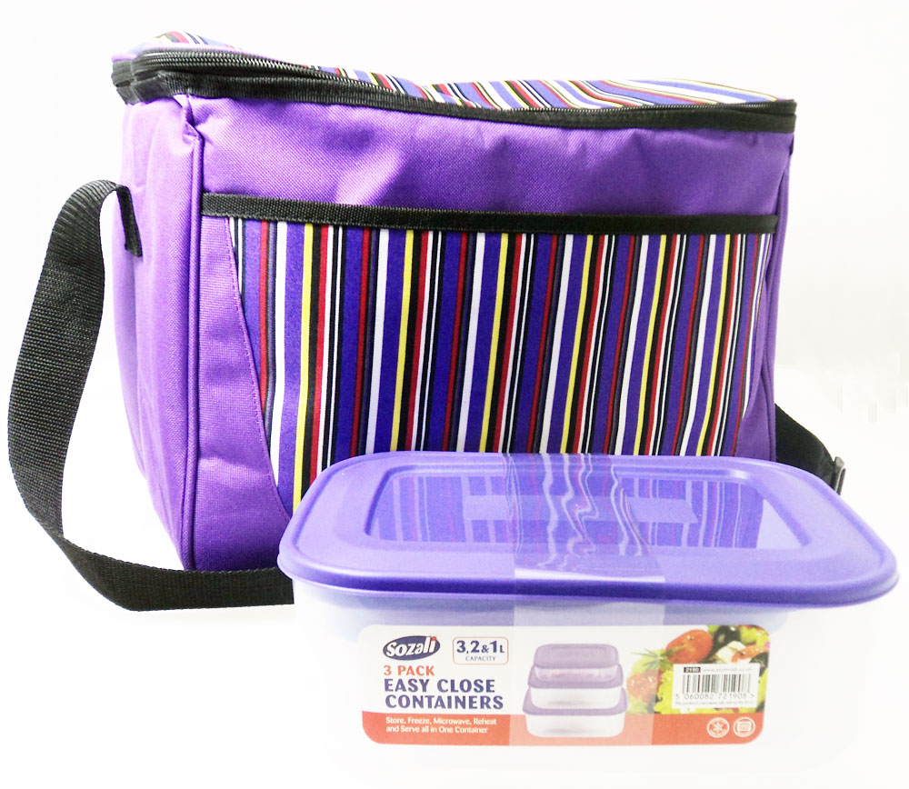 Lunch Picnic Cool Bag FREE Set Plastic Food Storage Containers Boxes