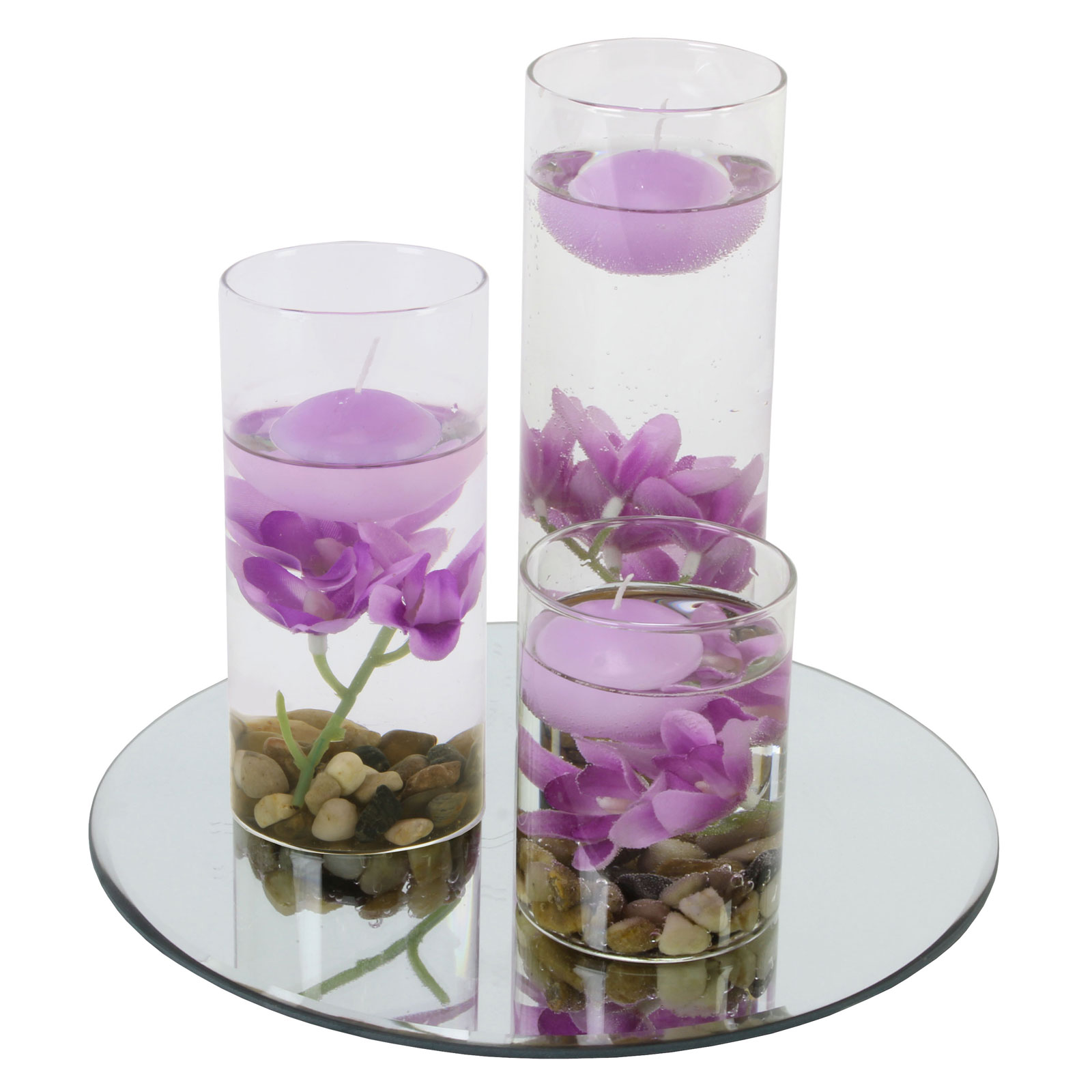Floating Candles And Flowers For Wedding Centerpieces: Glass Mirror Plate Floating Candles Vase Full Set Flower