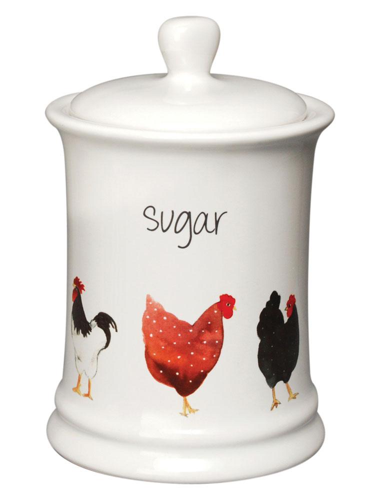 Pecking Order Hens White Ceramic Tea Kitchen Storage Jar Canister Farmhouse Set Ebay