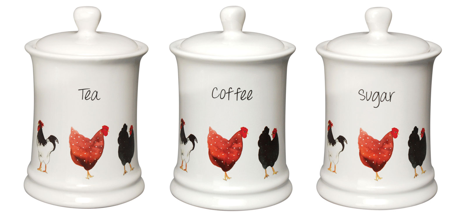 pecking order hens white ceramic tea kitchen storage jar. Black Bedroom Furniture Sets. Home Design Ideas