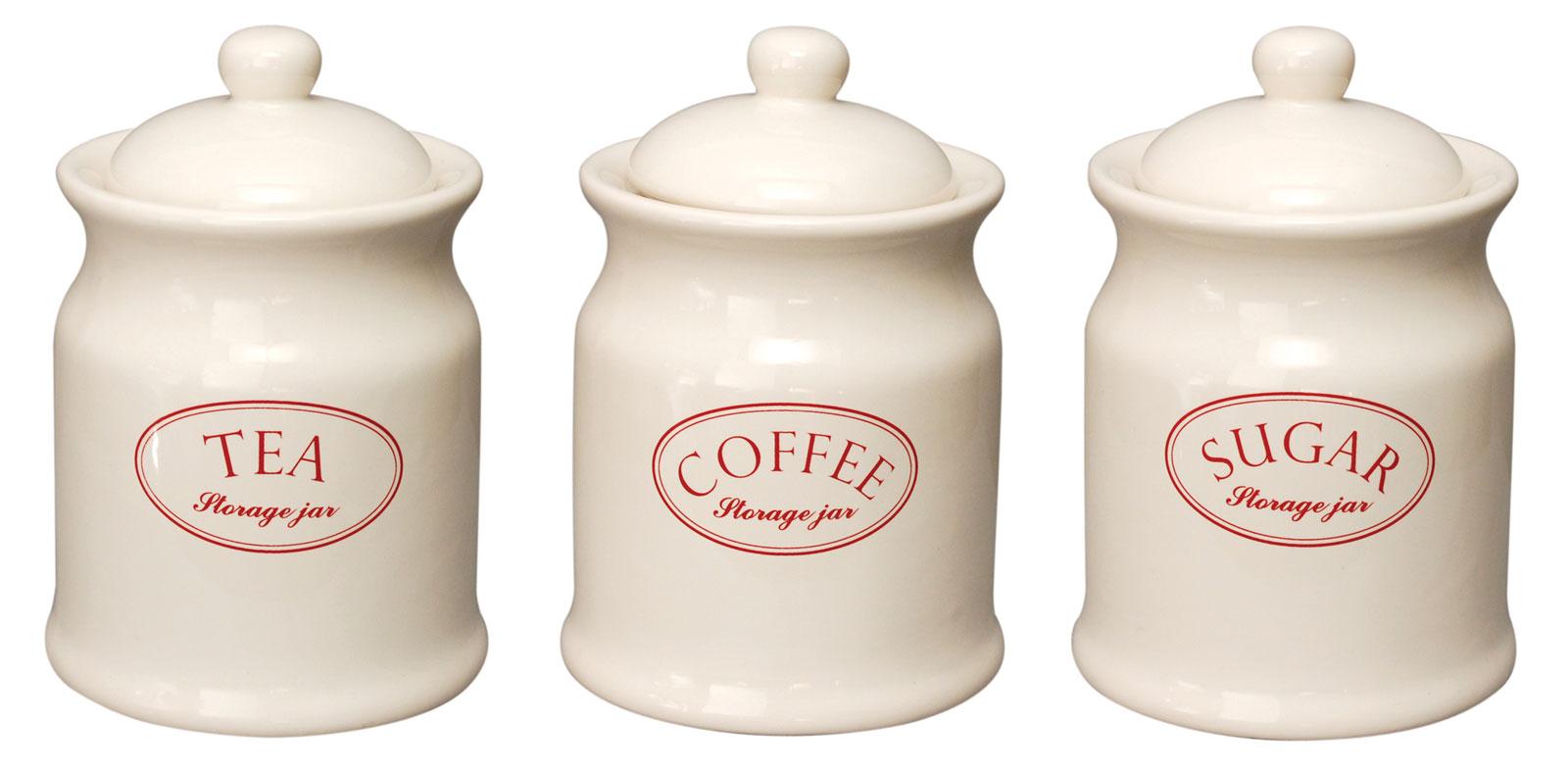 Pink Canister Set >> Ascot Cream Ceramic Tea Coffee Sugar Kitchen Storage Jars Set Canister Vintage