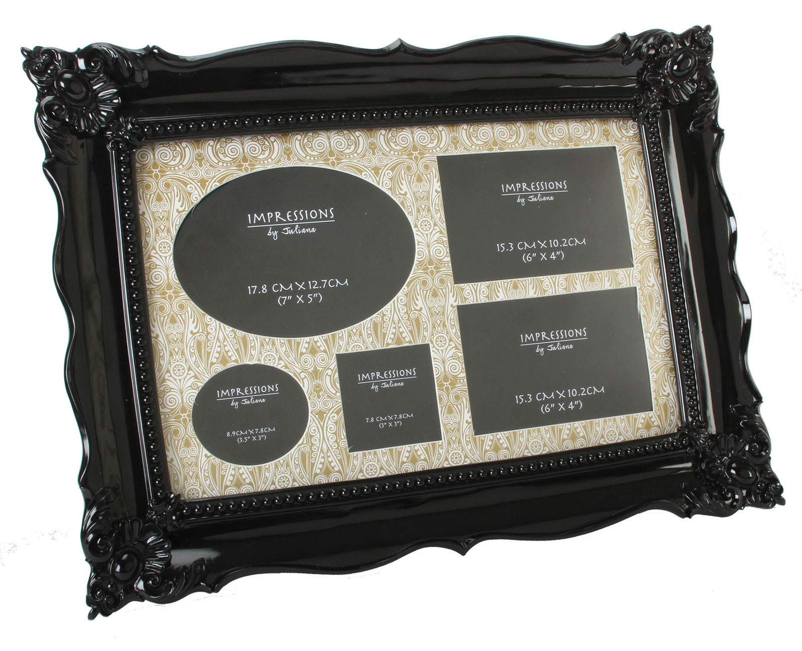 large antique black art deco baroque 5 multi aperture wall photo picture frame ebay. Black Bedroom Furniture Sets. Home Design Ideas