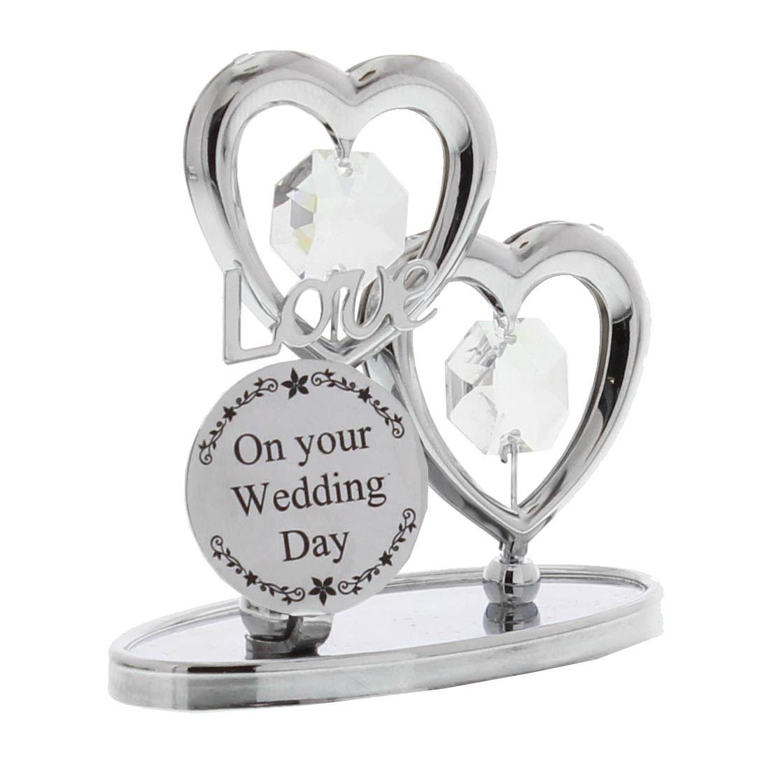 Crystal Wedding Anniversary Gift: Silver Chrome Crystal Ornament Wedding Day Love Heart Gift