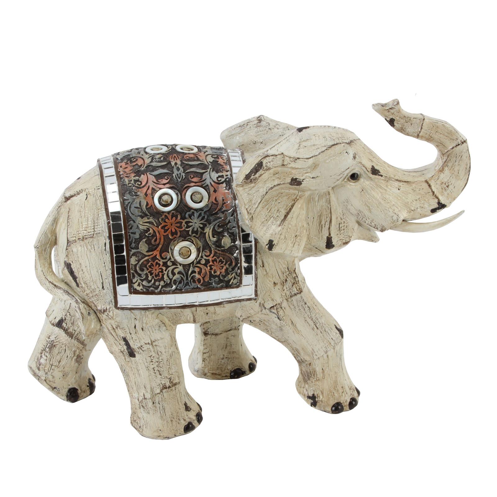 Large Decorative Vintage White Distressed Elephant