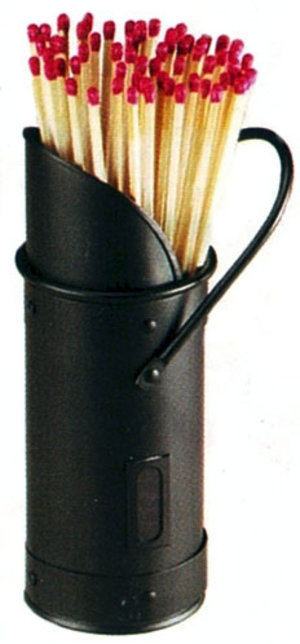 Fireplace Fireside Black Match Holder and Long Matches Preview