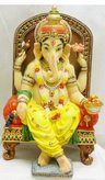 View Item Indian God Ganesh In Chair Statue. Handpainted Ornament