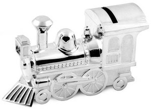 Christening Gifts Boys or Girls Large Silver Train Money Box Preview