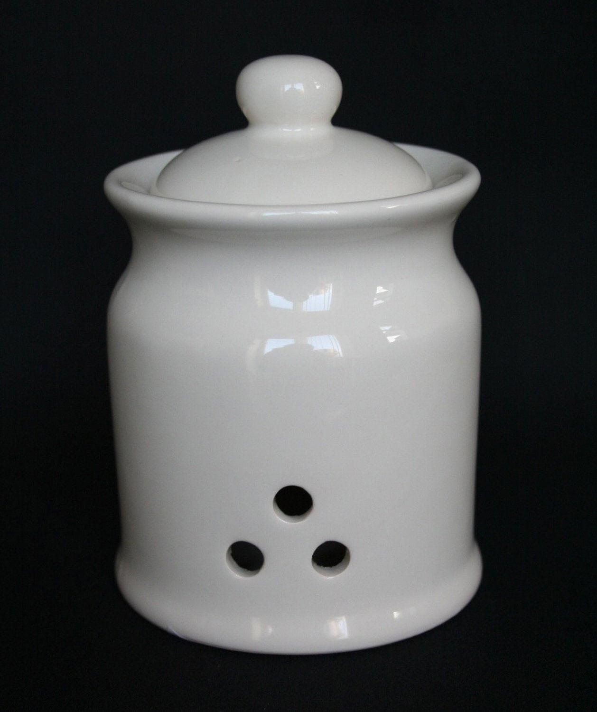 Cream Kitchen Storage Jars: NEW Cream Garlic Storage Jar Pot Ceramic Kitchen Store