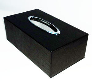 Real Leather Tissue Box Cover, Rectangular, Black Crocodile Preview