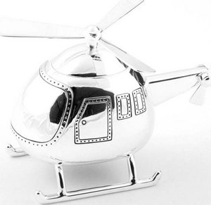 Christening Gifts. Boys Silver Helicopter Money Box Preview