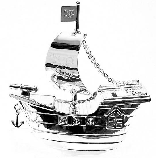 Christening Gifts Silverplated Pirate Ship Money Box