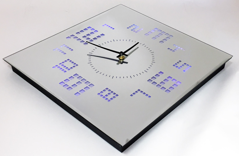 35cm Glass Square Wall Clock Reflective Mirror Colour