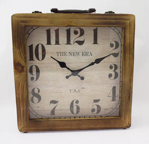 Brown Wooden Retro Suitcase Style Clock Preview