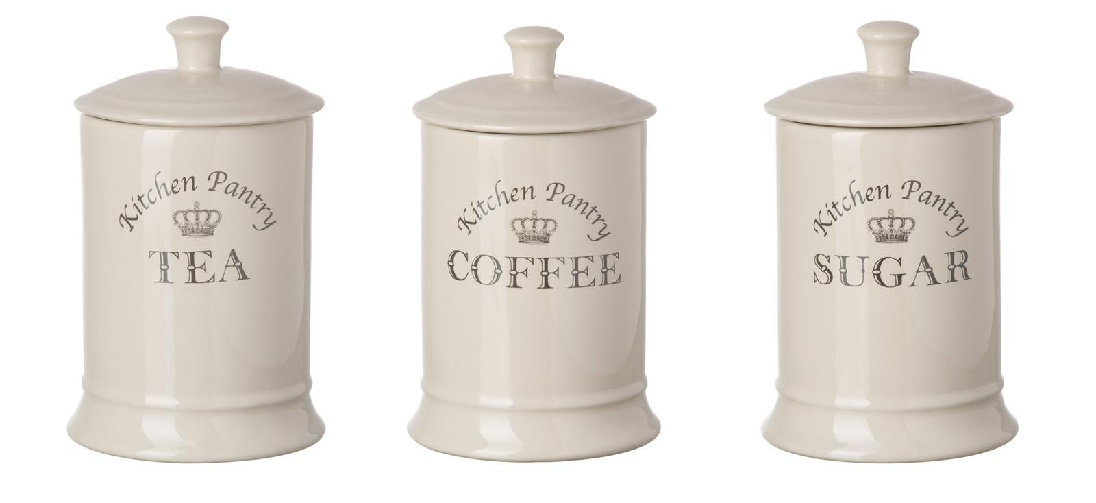 majestic cream tea coffee sugar canisters set kitchen. Black Bedroom Furniture Sets. Home Design Ideas