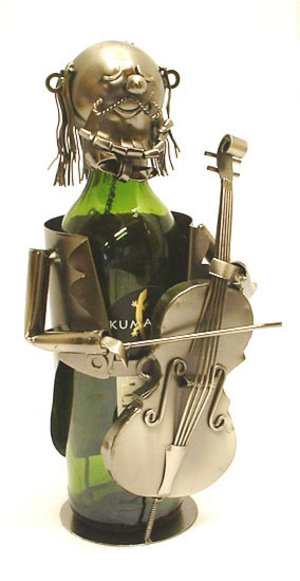 Metal Wine Bottle Holder. Band Bass Player Design Ornament  Preview