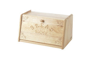 "Large 15"" Wooden Bread Bin. Decorative Carved Drop Door Preview"