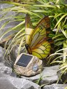 View Item Novelty Outdoor Garden Solar Light. Butterfly On Rock Ornament