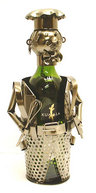 View Item Metal Wine Bottle Holder. Chef Cook Man Design Ornament 