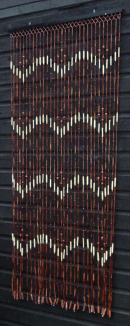 brown wooden bamboo beaded bead door curtain