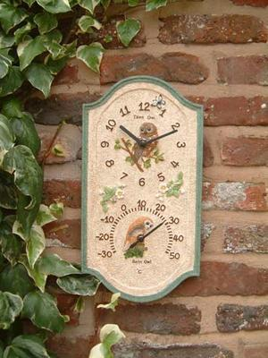 Decorative Owl Design Outdoor Garden Wall Clock & Thermometer Preview