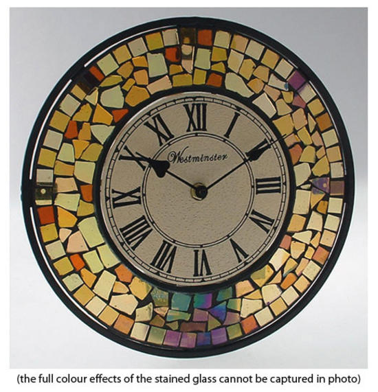 Mosaic design funky stained glass garden wall clock for Garden wall mosaic designs
