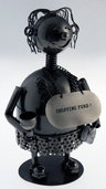 "View Item Metal Moneybox. Unusual 9"" Lady Shopping Money Box Statue"