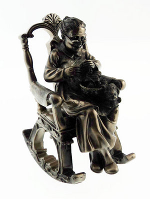 Bronze Colour Grandmother In Rocking Chair Figurine Statue Preview