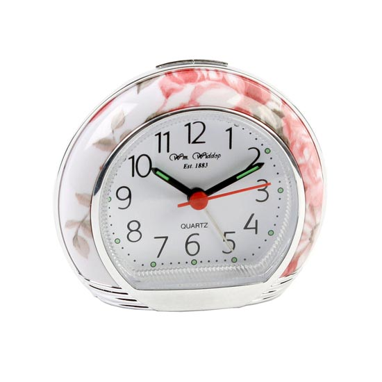 pretty pink white floral bedroom alarm clock silent sweep no ticking
