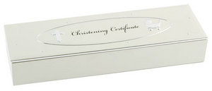 Baby Christening Gift. Velvet Lined Certificate Holder Box Preview