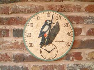 Decorative Woodpecker Garden Wall Thermometer & Clock Preview