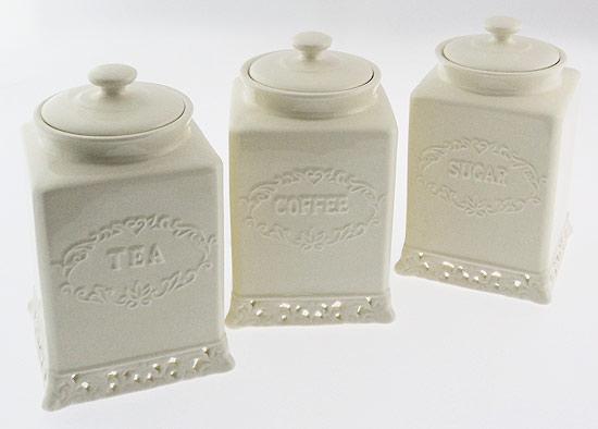 vintage cream design tea coffee sugar canisters set ebay. Black Bedroom Furniture Sets. Home Design Ideas
