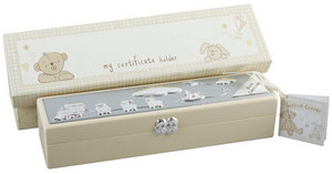 Baby Christening Gift. Button Corner Birth Certificate Holder / Box Preview