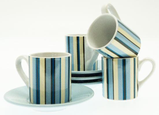 Espresso Coffee Cups Saucers Set Retro Blue Stripes