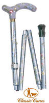 View Item Classic Canes Folding Floral Walking Cane - Grey Floral
