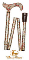 View Item Classic Canes Folding Floral Walking Cane - Cream Floral