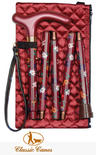 View Item Classic Canes Folding Floral Walking Cane - Dark Pink Floral