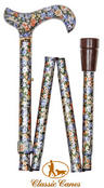View Item Classic Canes Folding Floral Walking Stick - Autumn Gold Colour