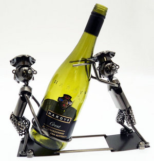 Metal Wine Bottle Holder. 2 x Chef Cooks Design Ornament  Preview