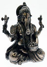 View Item Polished Bronze Colour Indian God Figurine Ganesh Elephant