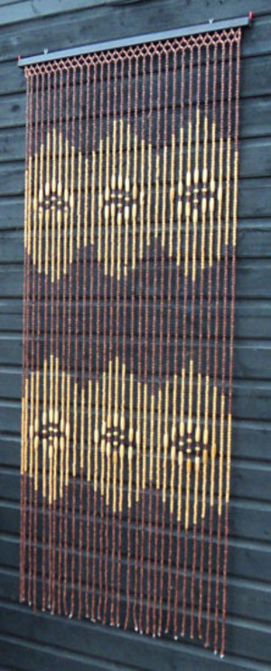 Brown Natural Wooden Bamboo Beaded Door Curtain Ts3