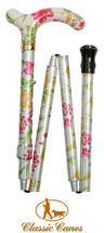View Item Ladies Adjustable Folding Floral Walking Stick Cane - Cream Colour