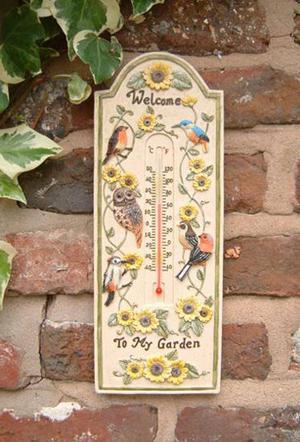 "12"" Decorative Garden Birds Design Outdoor Thermometer Preview"