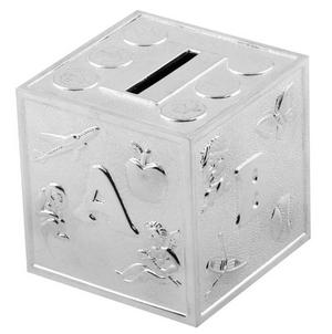 Christening Gifts. Silverplated ABCD Baby Cube Money Box Preview