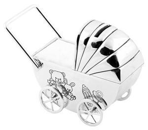 Christening Gifts. Silverplated Teddy Pram Money Box Preview
