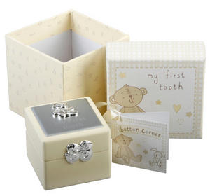 Baby Christening Gift. Button Corner First Tooth Box Preview