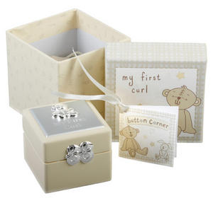 Baby Christening Gift. Button Corner First Curl Box Preview