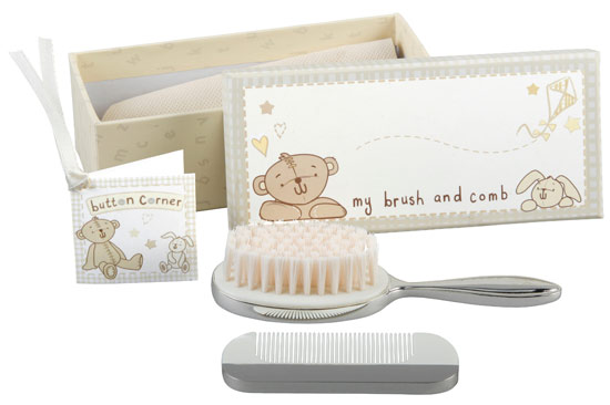 Baby Gift Emporium : Baby christening gift button corner brush comb set