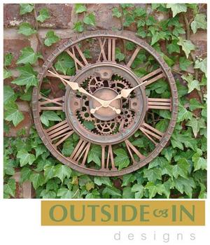 "12"" Copper Mechanical Cog & Wheel Garden Wall Clock Preview"