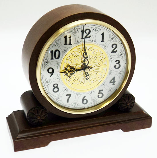 NEW Round Walnut Wooden Westminster Chimes Mantel Clock