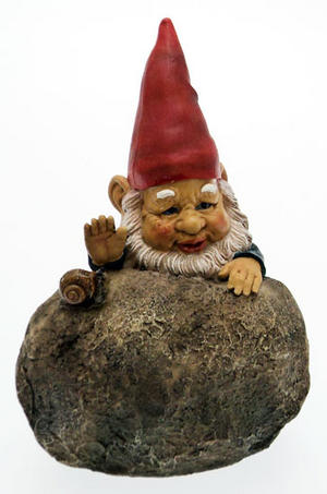 Novelty Outdoor Garden Gnome Behind Rock Ornament With Snail Preview